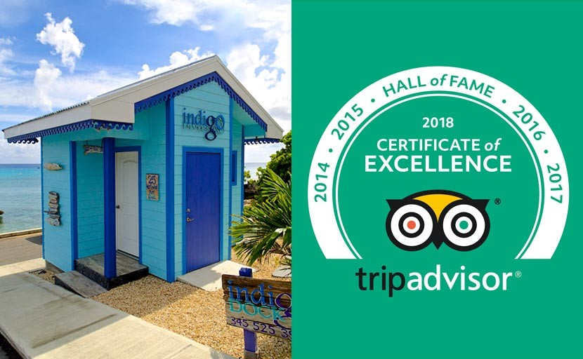 "INDIGO DIVERS EARNS 2018 TRIPADVISOR CERTIFICATE OF EXCELLENCE ""HALL OF FAME"" RECOGNITION"