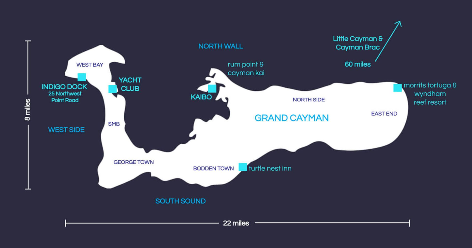 Indigo Divers Grand Cayman - Our Locations in Map