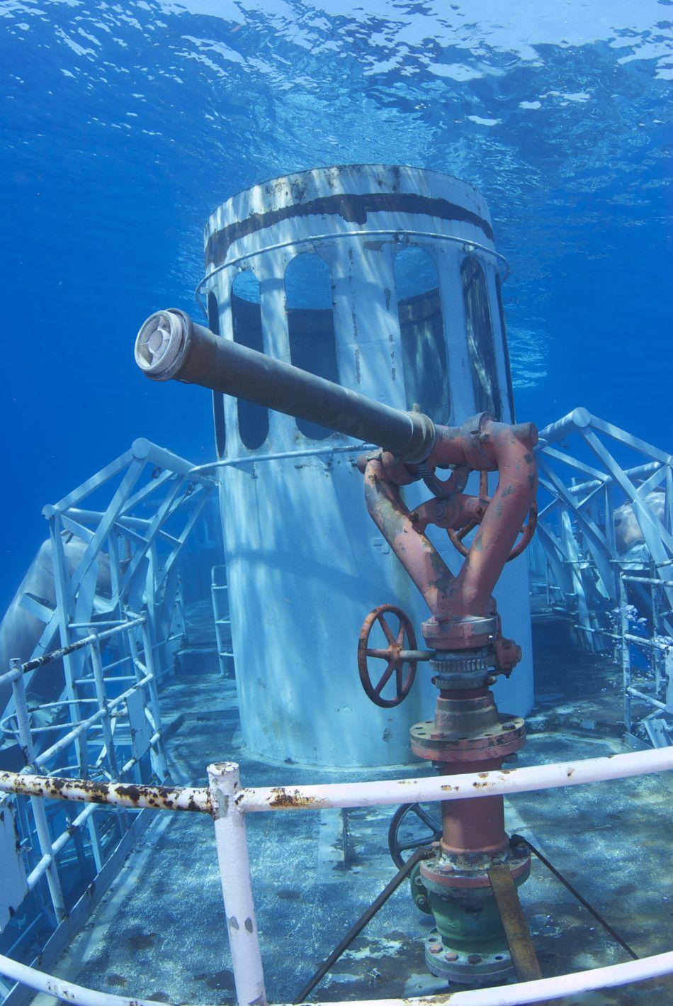 Water canon on the Kittiwake